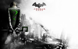 Batman arkham city, riddler, спина, город, чб