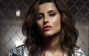 Nelly furtado, сетка, помада, лицо, свет обои