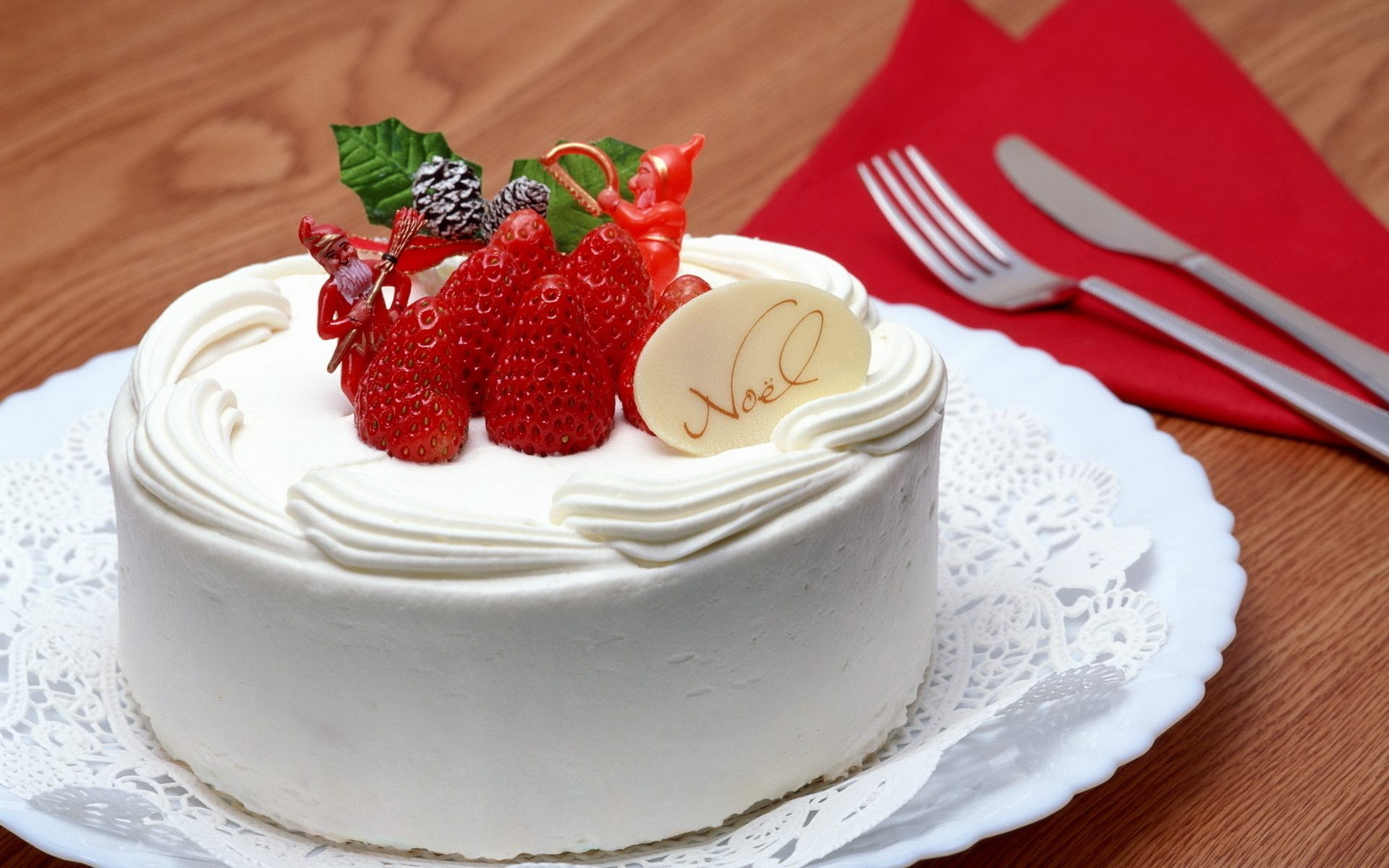 Strawberry, noel, merry christmas, holiday, happy new year, creme, cake, christmas, No l, sweet обои, картинки, фото