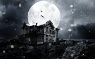 Full moon, moon, Haunted house, bats, moonlight, snow, creepy, midnight, night обои 5616x3744