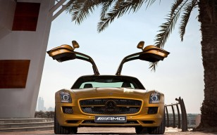 Двери, пальма, sls amg desert gold edition, ступеньки, Mercedes benz, золотой обои