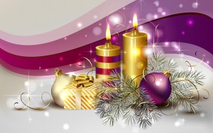 Decoration, beautiful, delicate, cool, colors, candle, candles, balls, Ball, christmas, box, beauty обои 2800x1833
