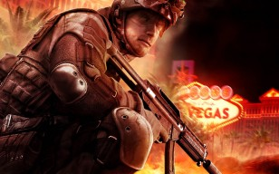 Tom clancys rainbow six vegas 3, солдат, автомат, казино обои 1280x1024