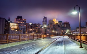 Minnesota, skyline at night, миннесота, minneapolis, snow, winter, United states обои 2560x1600