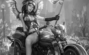 Фото девушки на мотоцикле скачать