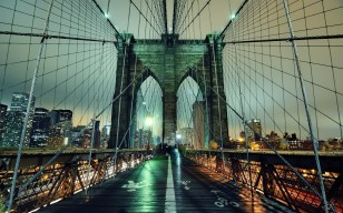 Nyc, нью-йорк, new york city, night, ночь, огни, Brooklyn bridge обои 1920x1200