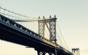 New york city, nyc, нью-йорк, Manhattan bridge, moonrise, usa обои 2560x1600